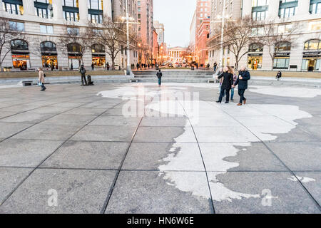 Washington DC, USA - December 29, 2016: Navy yard memorial with people walking on Pennsylvania avenue in downtown - Stock Photo