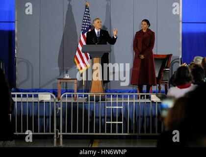 Former U.S. President Barack Obama gives his farewell speech on stage with former First Lady Michelle Obama at Joint - Stock Photo