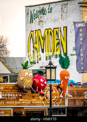 Welcome to Camden sign painted on brick wall building exterior - Stock Photo