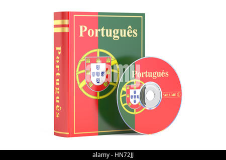 Portuguese book with flag of Portugal and CD disk, 3D rendering isolated on white background - Stock Photo