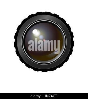 Realistic camera lens. Vector illustration for t shirt, bag, ad, etc. on separated background. Colored variant. - Stock Photo