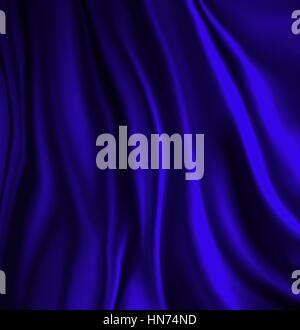 elegant luxury blue background with wavy draped folds of cloth, smooth silk texture with wrinkles and creases in - Stock Photo