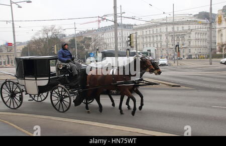 Horse drawn carriage in Vienna Austria image with copy space in landscape format - Stock Photo