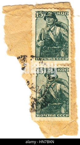 The postage stamp printed in USSR shows  a soldier of World War II, circa 1943 - Stock Photo