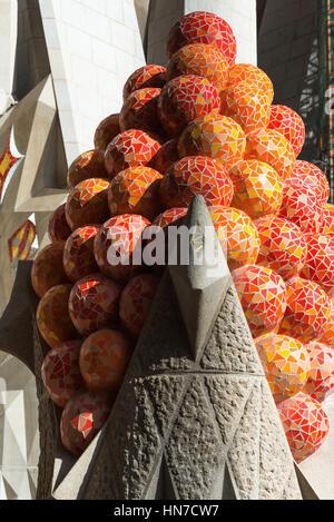 Passion Facade, Sagrada Familia, Barcelona, Catalonia, Spain - Stock Photo