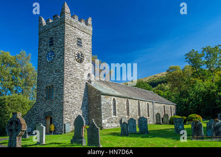 Jesus Church in Troutbeck, Lake District National Park, Cumbria, on a sunny late September day - Stock Photo