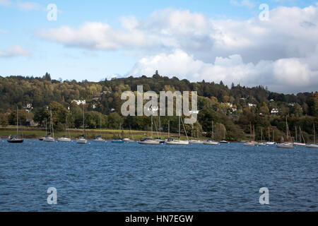 Yachts moored near the Eastern  shore of Windermere just south of Bowness The Lake District Cumbria England - Stock Photo