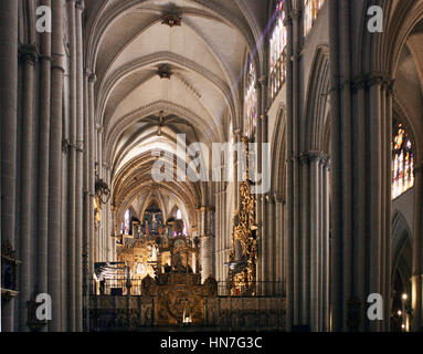 Main nave of the Toledo Cathedral, Spain - Stock Photo