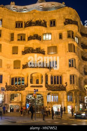 Gaudi's Casa Mila aka La Pedrera after dark, in Barcelona, Spain