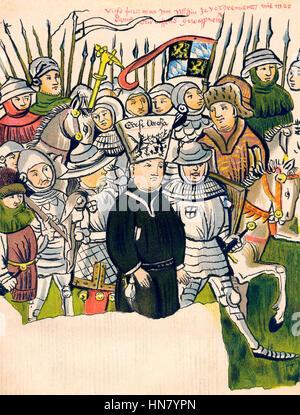 Burning of Jan Hus at the stake in Konstanz, 1415 - Stock Photo
