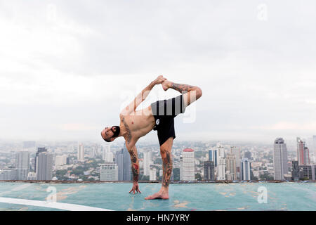 Man Practice Yoga Rooftop Concept - Stock Photo