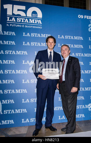 Turin, Piedmont, Italy. 9th Feb, 2017. John Ekann and Maurizio Molinari during the press conference of 150 years - Stock Photo