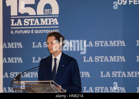Turin, Piedmont, Italy. 9th Feb, 2017. John Ekann during the press conference of 150 years of ''La Stampa'' at Palazzo - Stock Photo
