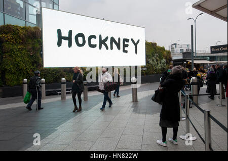 London, UK. 9th Feb, 2017. An iPad painting by the artist, David Hockney is unveiled for public display on an advertising - Stock Photo