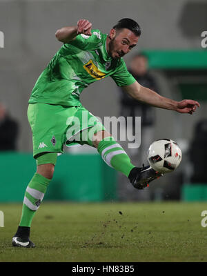 Gladbach's Josip Drmic in action during the German DFBCup round of 16 soccer match between SpVgg Greuther Fuerth - Stock Photo