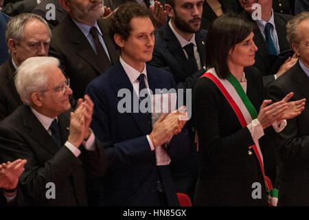 Turin, Piedmont, Italy. 9th Feb, 2017.  Sergio Mattarella during the Celebration of 150 years of ''La Stampa'' at - Stock Photo