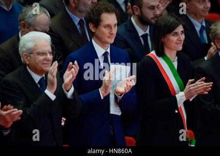 Turin, Italy. 2017, 9 february: Sergio Mattarella (left), President of the Italian Republic, John Philip Jacob Elkann, - Stock Photo