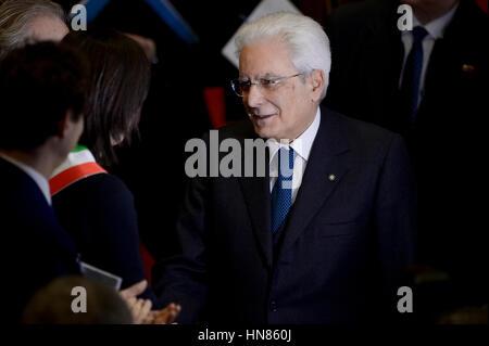Turin, Italy. 2017, 9 february: Sergio Mattarella, President of the Italian Republic, attends the celebration of - Stock Photo