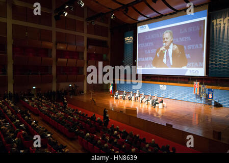 Turin, Piedmont, Italy. 9th Feb, 2017.  Celebration of 150 years of La Stampa at Auditorium Lingotto in Turin, Italy - Stock Photo