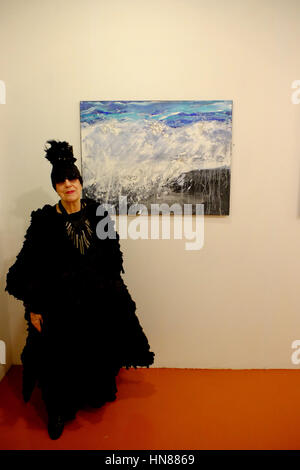 London, UK. 9th Feb, 2017. Molly Parkin, famous Welsh artist , journalist and author, holds an exhibition of her - Stock Photo