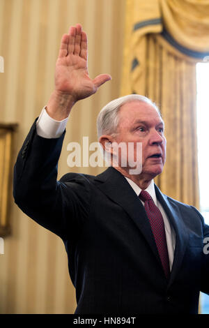 Attorney General Jeff Sessions is sworn-in in the Oval Office of the White House in Washington, DC, USA, 09 February - Stock Photo