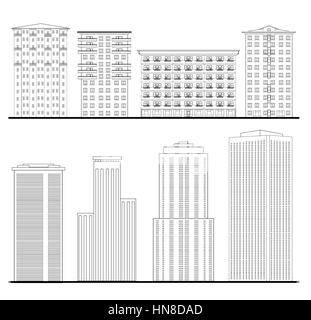 Architecture set. Outline sketch drawing of building. City downtown structure collection - Stock Photo