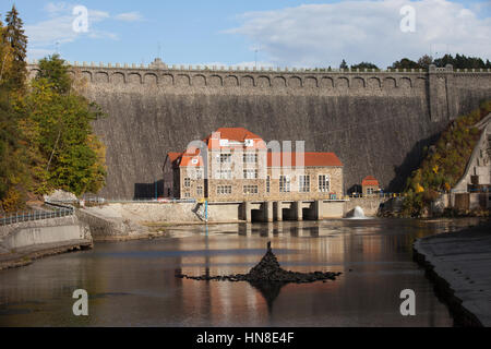 Europe, Poland, Pilchowice Dam and hydroelectric power station, historic power plant from 1912, industrial monument - Stock Photo