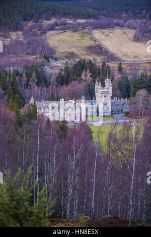 Aerial view of Balmoral Castle, owned by the royal family, near Ballater in Aberdeenshire, Scotland, UK - Stock Photo