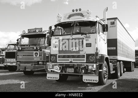 ALAHARMA, FINLAND - AUGUST 12, 2016: Classic Volvo F88 Kenth Fors from Munsala among more nostalgy show trucks on - Stock Photo