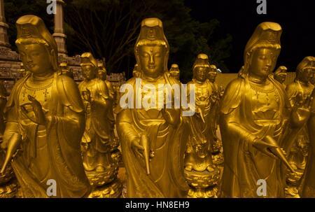 Guanyin (Kuan-Yin, Avalokiteshvara) bodhisattva statue in Kek Lok Si temple during Chinese New Year celebration in Penang