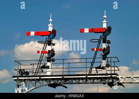 British Railway semaphore signals, - Stock Photo