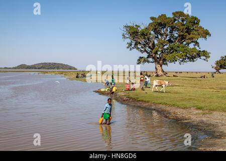 A Young Ethiopian Girl Collects Water From The Lake, Lake Ziway, Ethiopia - Stock Photo