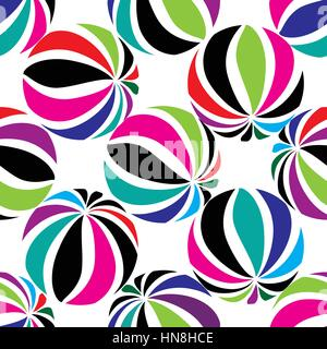 Abstract geometric striped balls seamless pattern. Circular texture for wallpaper, surface or cover. Fun funky background. - Stock Photo