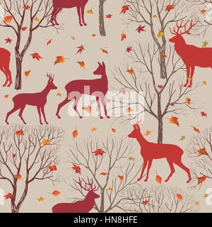 Animals in autumn forest pattern. Fall leaves and trees seamless background. Deer Vintage Christmas elements. Reindeer - Stock Photo