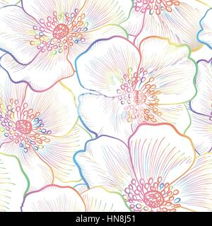 Floral seamless pattern. Flower outline background. Floral decorative seamless texture with flowers. - Stock Photo