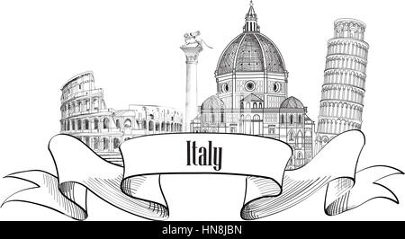 Italy architectural symbols. Trave Italy label. Italy skyline. - Stock Photo