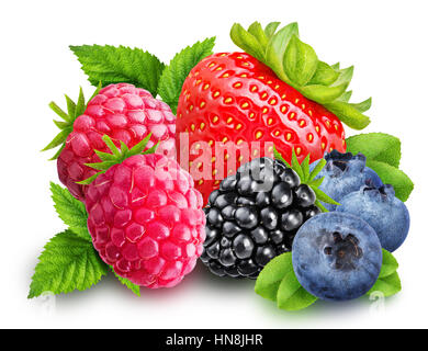 Strawberry, blackberry, blueberry, raspberry isolated with clipping path - Stock Photo