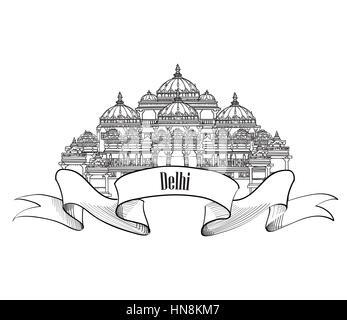 Delhi travel label.  Indian Landmark symbol. Akshardham, Delhi, India. - Stock Photo
