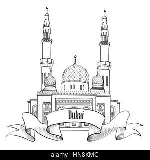 Dubai city label. Travel UAE symbol. - Stock Photo