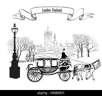 Old street alleyway with buildings, park trees, street lamp and carriage with horse. London city. England, UK. - Stock Photo
