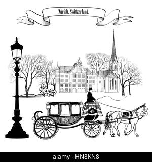 Old street alleyway with buildings, park trees, street lamp and carriage with horse. Zurich city. Switzerland. - Stock Photo