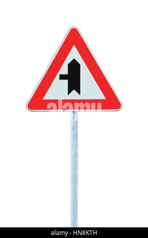 Crossroads Warning Main Road Sign Pole Post, Left Exit Ahead, Isolated Vertical Closeup - Stock Photo