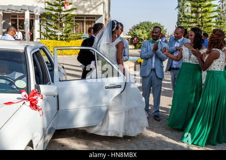 A Wedding Party, The Bride and Bridegroom Arrive, Lake Ziway, Ziway, Ethiopia - Stock Photo