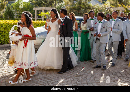 A Wedding Party, The Bride and Bridegroom Lead A Procession, Lake Ziway, Ziway, Ethiopia - Stock Photo