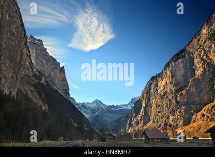 Lauterbrunnen valley and in the background the Swiss Alps. Bernese Oberland, Switzerland - Stock Photo