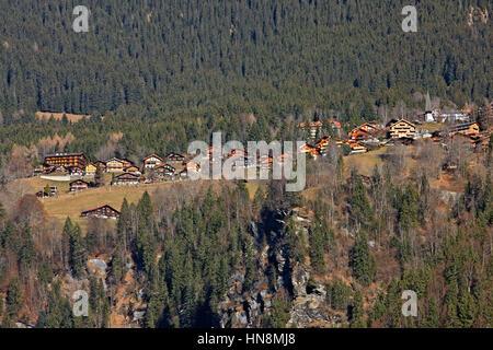 Wengen, a Swiss Alpine village in the Bernese Oberland region. It overlooks the Lauterbrunnen valley, Switzerland. - Stock Photo