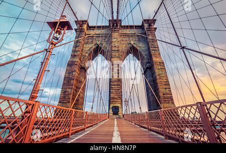 Brooklyn Bridge in New York City, America - Stock Photo