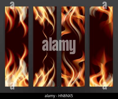 Banner Set with Fire Flames. Vector Illustration. - Stock Photo