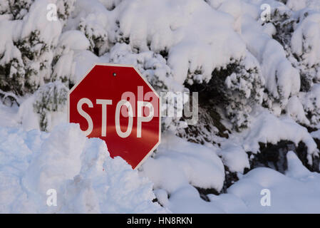 A stop sign partly covered in snow in Yosemite Valley, California after heavy drought breaking snow in January 2017 - Stock Photo