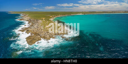 Rugged coastline of Kangaroo Island in summer - beautiful aerial panorama - Stock Photo